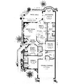 Patio size lot Traditional Style House Plans - 2256 Square Foot Home , 1 Story, 3 Bedroom and 3 Bath, 2 Garage Stalls by Monster House Plans - Plan 8-286