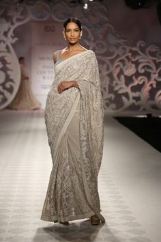 Ash colour georgette saree with white thread work by Varun Bahl