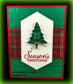craftwithronnie : Red, Green and Gold Does Scream Christmas - christmas cards ideas Homemade Christmas Cards, Stampin Up Christmas, Christmas Cards To Make, Xmas Cards, Homemade Cards, Handmade Christmas, Holiday Cards, Fun Cards, Christmas Towels