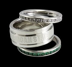 dad showed me these and they are absolutely perfect!! Beliza Design   Michigan State U Rings - Triple Stacked Ring with Michigan State Engraved