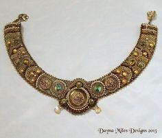 Anjuli Bead Embroidered Bead Woven Collar by DaynaMilesDesigns