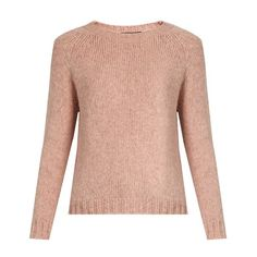 Weekend Max Mara Polonia sweater (1.190 BRL) ❤ liked on Polyvore featuring tops, sweaters, light pink, bateau neck sweater, boyfriend tank top, boat neck sweater, light pink sweater and bateau neck tops