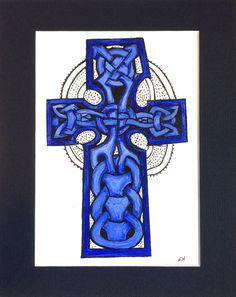 Items similar to Blue Celtic Cross, (Gaut's Cross, Isle of Man), matted // Scandinavian Celtic Decor // Manx art // Medieval Christian art on Etsy