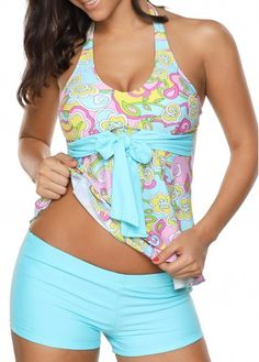 Aqua Blue Printed Halter Tankini Swimsuit with Shorts