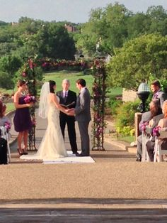 Outdoor ceremony facing golf course.