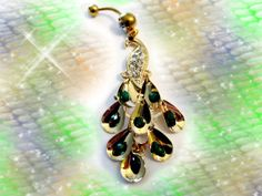 SALE-Belly Ring, Shimmery Gold Peacock with Jade green Rhinestones, Belly Button Ring, Belly Button Jewelry for Her