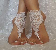 Free ship white flower wedding barefoot sandals  by GlovesByJana