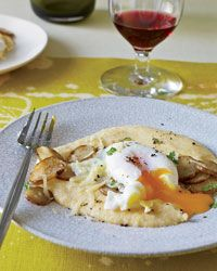 Poached Eggs with Sunchokes and Comté Polenta
