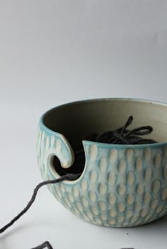 faceted blue yarn bowl