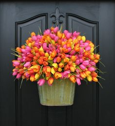Spring Tulips XXL, Front Door Decor,  Country Home Decor, Shabby Chic,Wreaths, Pink Tulips, Orange Yellow Tulips