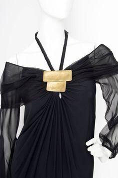 1990s Donna Karan Silk Jersey & Chiffon Evening Dress image 5