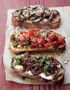 Bruschetta na 10 způsobů , Foto: Grilování od A do Z Vegetarian Cooking, Vegetarian Recipes, Healthy Recipes, Appetizer Recipes, Snack Recipes, Cooking Recipes, No Salt Recipes, Great Recipes, Bruschetta