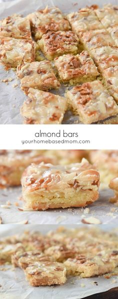 Almond Bars Recipe - These Almond Bars are chewy and crunchy all at the same time you aren't going to be able to stop eating them! #almondbars #almondrecipes #almonddesserts #almondbarsrecipe #cookiebars #bars #desserts