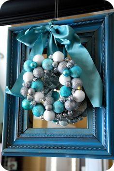 Blue and Silver Christmas Mantel