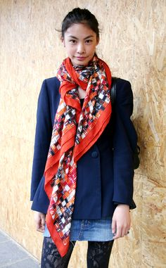 Orange Hermès scarf + blue