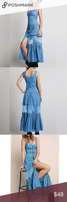 """Buttondown Maxi DRESS Blue Sheer Panel NEW!! BRAND NEW!! Buttondown Full-Length Maxi Dress featuring a sheer mid-skirt panel, and a ruffled hem. Effortlessly Chic, bohemian vibe!! 🌟Pls note: this is an austin gal boutique item.🌟Similar style by Free People.🌟  S: Bust: 32.7/Waist:31.5/Length:50.4"""" M:Bust:34.2/Waist:33.7/Length:50.7"""" L: Bust:35.8/Waist:34.6/Length:51""""  🌟🌟Item is Brand New, direct from the Manufacturer, & Sealed in Pkg. 🌟🌟 austin gal Dresses Maxi"""