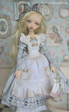 Купить Алиса - голубой, алиса в стране чудес, алиса, кукла ручной работы, кукла