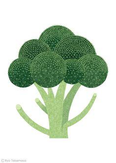 Broccoli by Ryo Takemasa #broccoli #illustration @ryotakemasa #garden Print