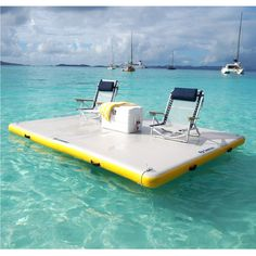 The Solstice Inflatable Floating Dock is a durable activity platform to use at the lake or in your pool. Made from durable 1000 Denier 3 ply PVC reinforced fabric material, it is durable for most water activities. Lake Floats, Pool Floats, Photo Ocean, Lake Toys, Photo Summer, Summer Fun, Floating Dock, Floating Island Raft, Floating Pontoon