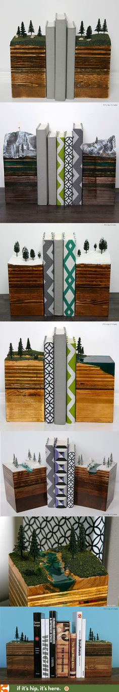 Beautiful handmade bookends mimic nature scenes in miniature. | http://www.ifitshipitshere.com/bookends-earth-hand-crafted-sculptural-micrososms-planet/