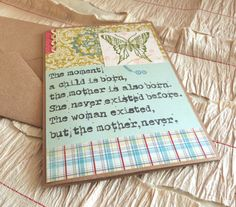 For Sale & Inspiration: Beautiful Quote Mothers Day Card for a New Mom by harmoneyestudio, $8.00