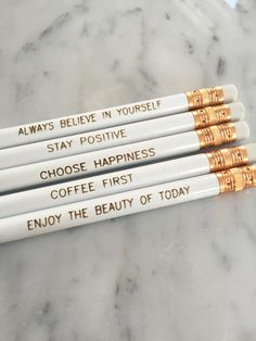 Positive Thinking Pencils Pencils by RoseHillDesignStudio. The Heather Stillufsen Collection on Facebook, Instagram and shop on Etsy. All quotes copyright protected