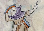Gloves, 3 Finger (Split mittens) Two shepherds (Fol. in the Luttrell Psalter (British Library MS Add. I love the split blue /red combination Medieval World, Medieval Art, Medieval Manuscript, Illuminated Manuscript, 14th Century Clothing, Late Middle Ages, Medieval Costume, Historical Art, Medieval Clothing