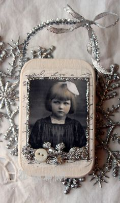 Miss Christmas Pout HANDMADE ALTERED Tin Ornament. $12.95, via Etsy.