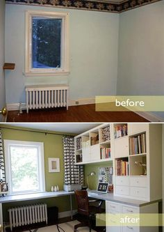 Built-ins and an L-shaped desk in a small room.: Would also be great again a longer along the windows with shelves in between the windows potentially