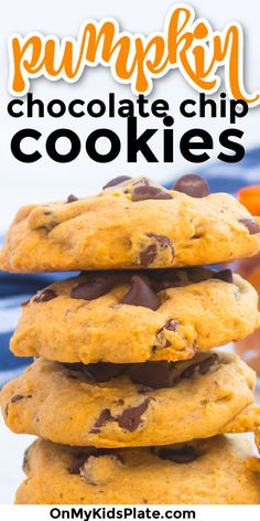 Best Ever Pumpkin Chocolate Chip Cookies! These chocolate chip cookies have just the right amount of pumpkin flavor, and are soft and gooey. Yum! #pumpkincookies #chocolatechipcookies #fallcookies Bake Sale Recipes, Pumpkin Chocolate Chip Cookies, Good Food, Yummy Food, Fall Cookies, Fall Desserts, Candies, Kids Meals, Food To Make