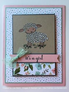 I needed a baby girl card next. So I just kept right on going with the Easter Lamb and chose some feminine DSP, some shimmer from Stella and a little lace to dress it up.