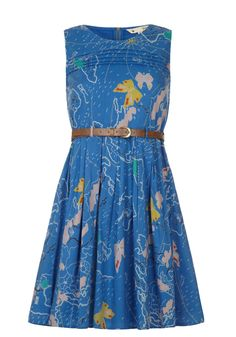 Butterfly and Map Print Dress