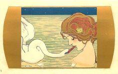 Leda and the Swan by Raphael Kirchner Repro Art Postcard