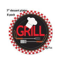 These grill dessert plates are just right for a summer BBQ, for Fathers Day, or a picnic for graduation.  ** 8 dessert sized paper plates per order  ** SIZE: 7 inches  ** bold, bright printed image  ** the perfect complement to the Backyard BBQ lunch plates and napkins in our shop (see photo #2), which you can find here: https://www.etsy.com/shop/PartyParts?ref=seller-platform-mcnav&section_id=20708344  Please be sure to check out our party supplies using the...