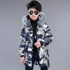 3494514fe1f8 2017 Winter Jackets For Boys Kids Thick Hooded Fur Collar Down Jacket  Children Warm Outerwear Winter