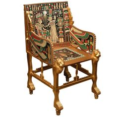 Circa 1920's English Egyptian Revival Giltwood and Painted Bone Inlaid Armchair