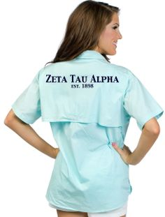 Isn't this fishing shirt just the CUTEST?! Completely customizable with your sorority on the back!