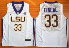 Men's LSU Tigers #33 Shaquille O'Neal White College Basketball Jersey