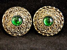 Vintage Geometric Round Circle Clip On Earrings Green Retro Costume Jewelry #Unknown #ClipOn