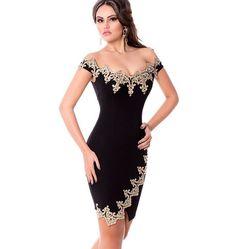 Elegant Lace Applique Off Shoulder Women Bodycon Dress