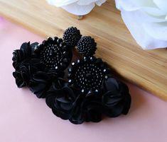 Black Beaded Flower Tassel Earrings - Lux Store DR