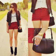 Pantaloni rossi vita alta