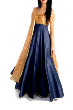 Steel Grey Anarkali with Sequin Embroidery http://www.6ycollective.com/labels/heiress/products/1358