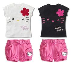 Retail 2015 children girls clothing set Summer hello kitty cute pajamas costume baby kids child cartoon clothes sets suits