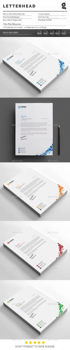 Corporate Business Letterhead Design Template - Stationery Print Template PSD, Vector EPS, AI Illustrator. Download here: https://graphicriver.net/item/letterhead/18797599?ref=yinkira