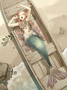 Ideas For Drawing Mermaid Anime Mermaid Drawings, Art Drawings, Mermaid Artwork, Mermaid Paintings, Drawings Of Mermaids, Drawing Ariel, Drawing Disney, Drawing Drawing, Fantasy Kunst