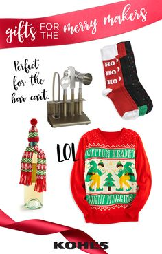 For the merry makers who love to be the life of the party, make sure they get the attention they deserve. Give the holiday gift of fun with items like ugly sweaters, white elephant gifts and toys. They make great Christmas gifts for him or for her. Featured product includes: men's 3-pack holiday socks, elf holiday sweater and St. Nicholas Square shine bright 5-pc. bar tool set and 6-pc. hat and scarf wine bottle cover. Give the good stuff with Kohl's.