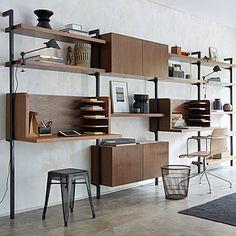 Taktik Desk Module in Walnut Veneer Library Furniture, Home Decor Furniture, Furniture Design, Shelving Design, Shelving Systems, New Living Room, Interior Design Living Room, Home Office Design, House Design