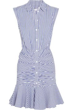 When it comes to reworking classics, everything is fair game this season - even the humble shirt dress. Veronica Beard's cotton-poplin version feels fresh and cool, thanks to a ruched mini skirt and fluttery hem. Accentuate the crisp blue and white stripes with tonal flats.