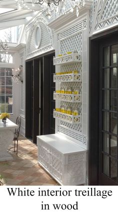 white interior treillage in wood by Accents of France - September 15 2019 at Double Doors Interior, Interior Barn Doors, Interior Exterior, Interior Office, French Closet Doors, French Doors Patio, Patio Doors, Entry Doors With Glass, Glass Panel Door